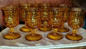 Set-of-7-small-Vintage-Indiana-Glass-Kings-Crown-Thumbprint-Amber-3-1-2-034