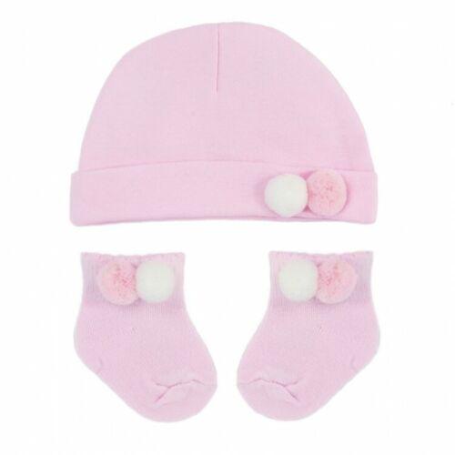 Baby Boy Girls Spanish Style Romany Pom Pom Hat /& Socks Set *Blue Pink* Grey