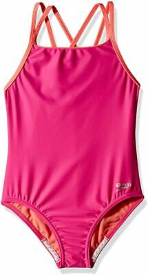Speedo Girls Swimsuit One Piece Solid Cross Back Multi Straps