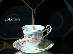 VINTAGE NORITAKE STUDIO COLLECTION BONE CHINA CUP AND SAUCER IN GIFT BOX