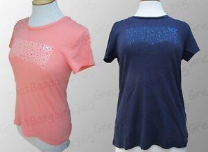 Donna-Autentico-Levi-100-COTONE-T-Shirt-Girocollo-Blu-Pesca-S-M-L-XL-Nuova-con-etichetta