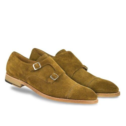 Men Handmade Shoe Monk Strap Suede Brown Formal Dress Casual Wear Boot All Sizes