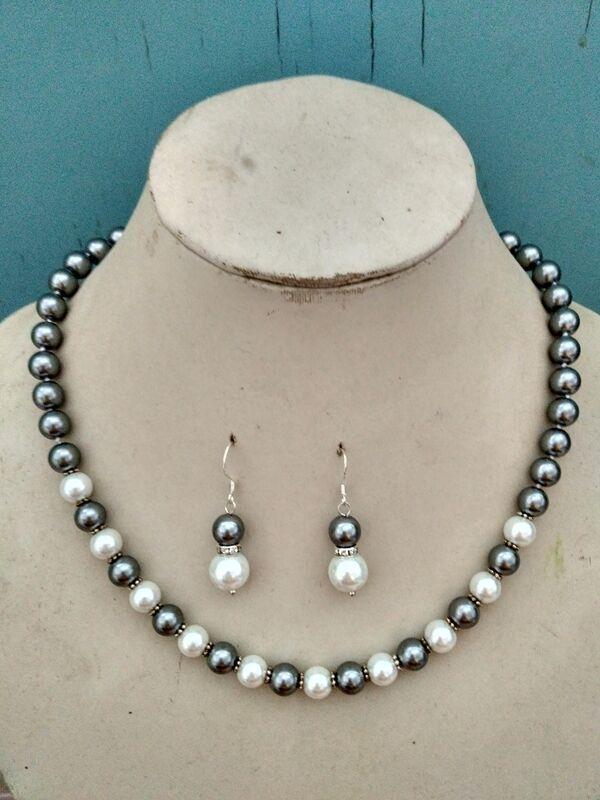 8mm South Sea Gray Akoya Shell Pearl Necklace 18/'/'AAA