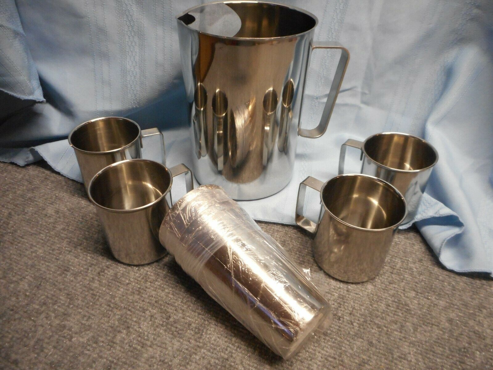 LINDY'S 9 PC STAINLESS STEEL CUPS TUMBLERS GLASSES PITCHER NEW