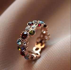 Bijou-Cadeau-Mignon-Multicolore-Cristal-Bague-Fleur-Rond-Elegant
