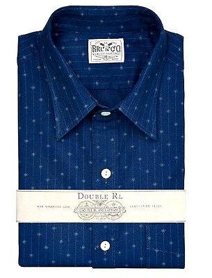 POLO RALPH LAUREN DOUBLE RL RRL INDIGO DYED CALICO DRESS OXFORD SHIRT $295+