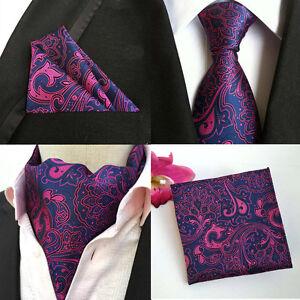 Mens-Purple-Pink-Floral-Paisley-Silk-Necktie-Ascot-Cravat-Pocket-Square-Set-Lot