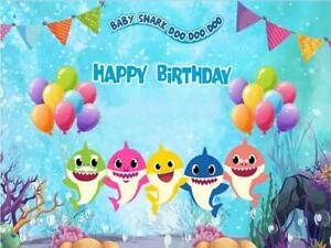 7x5ft baby shark underwater backdrops baby shower birthday party Background