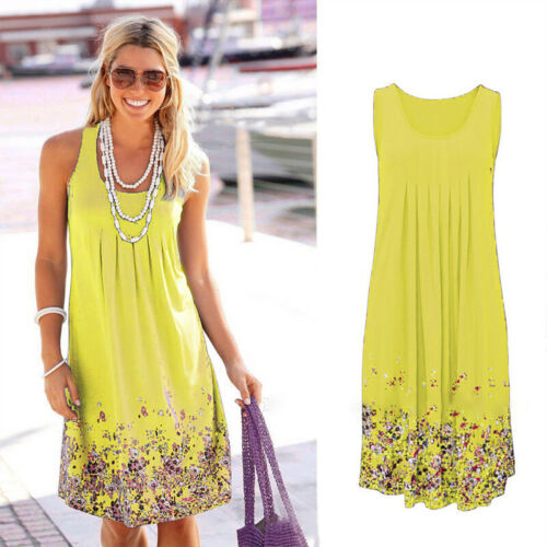 UK Women/'s Ladies Sleeveless Flowy Midi Summer Beach A Line Floral Tank Dresses