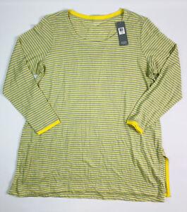 New Eileen Fisher Women's 1X Citron Linen Scoopneck Tunic Top Striped Lagenlook