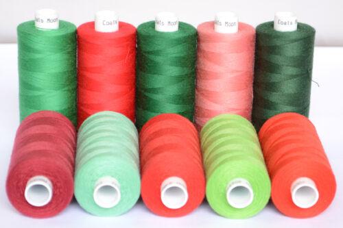 Moon polyester fils à coudre red /& green famille couleurs Boîte de 10 bobines