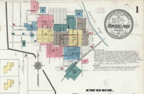 Arkansas~Sanborn Map© sheets~ 48 maps~~ CD~in full color~1886-1918 Arkadelphia