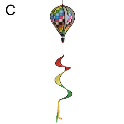 Air Balloon Wind Spinner with Rainbow Stripe Garden Yard Outdoor Decoratio ZX