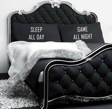 Sleep All Day Game All Night Black Pillow Cases Teenager Gaming Gift Pillowcases
