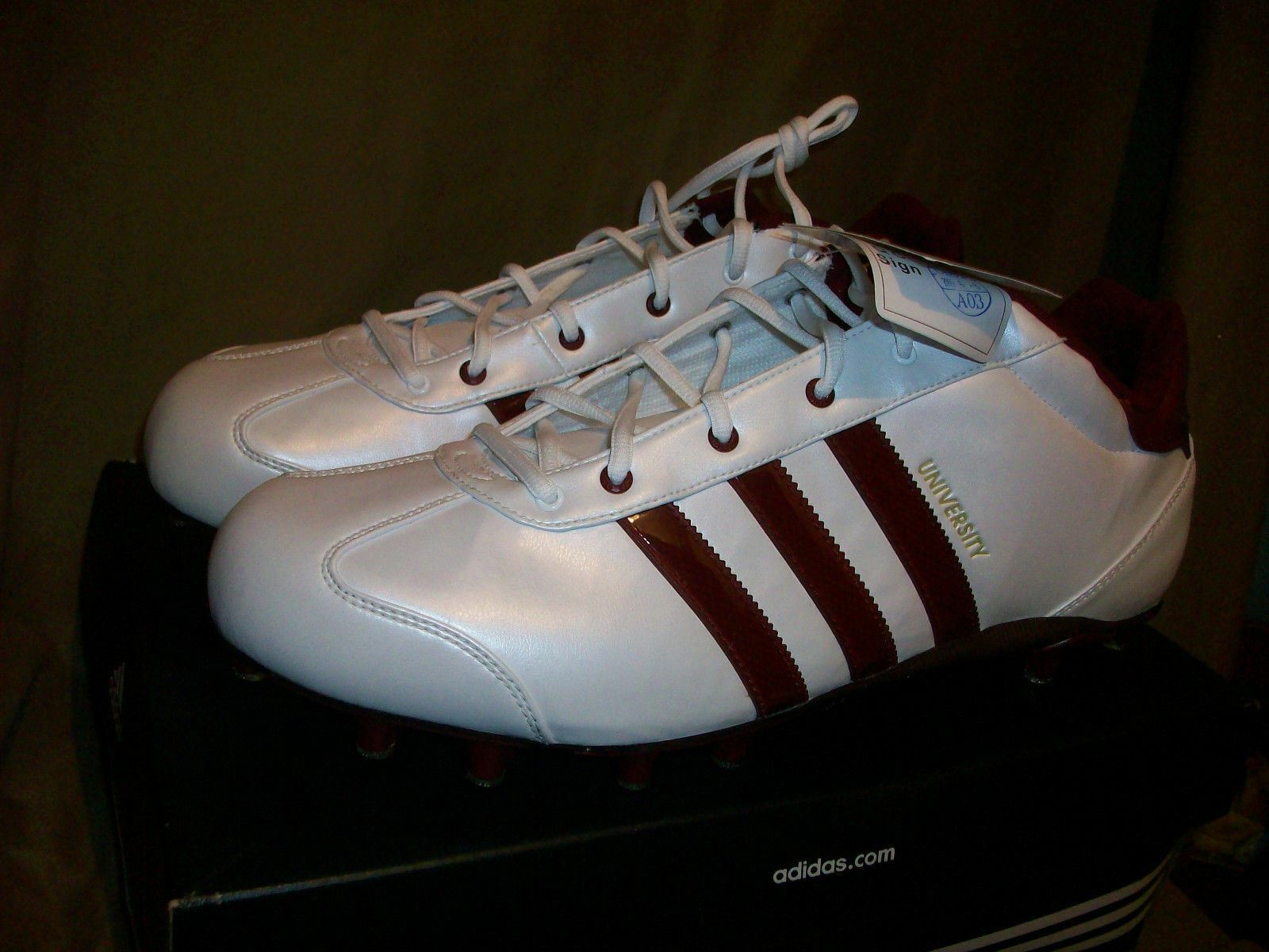 ADIDAS UNIVERSITY LE FOOTBALL CLEATS MENS SIZE 14.5 WHITE BURGUNDY
