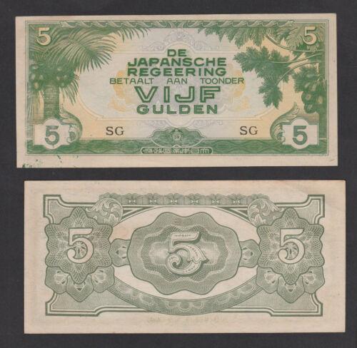 Netherlands Indies 5 Gulden P124c Japanese Invasion AUNC 1942