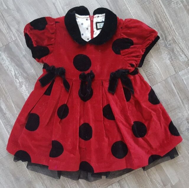 2b52380f6389 Childrens Place Baby Girl 12 Months Dress Red Velvet Black Polka Dots  Christmas