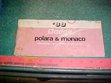 1968 DODGE POLARA  MONACO OWNER'S MANUAL FAIR