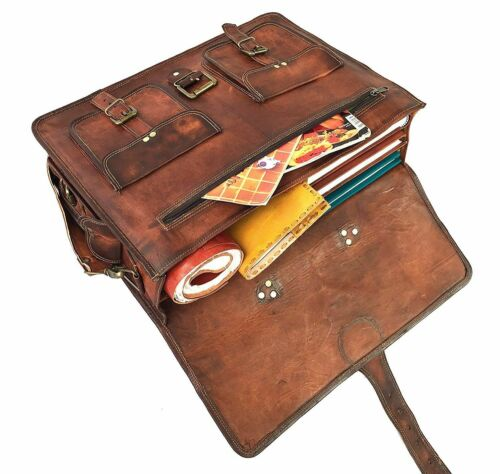 Distressed Men/'s Leather Business Messenger Laptop Briefcase Brown office bag
