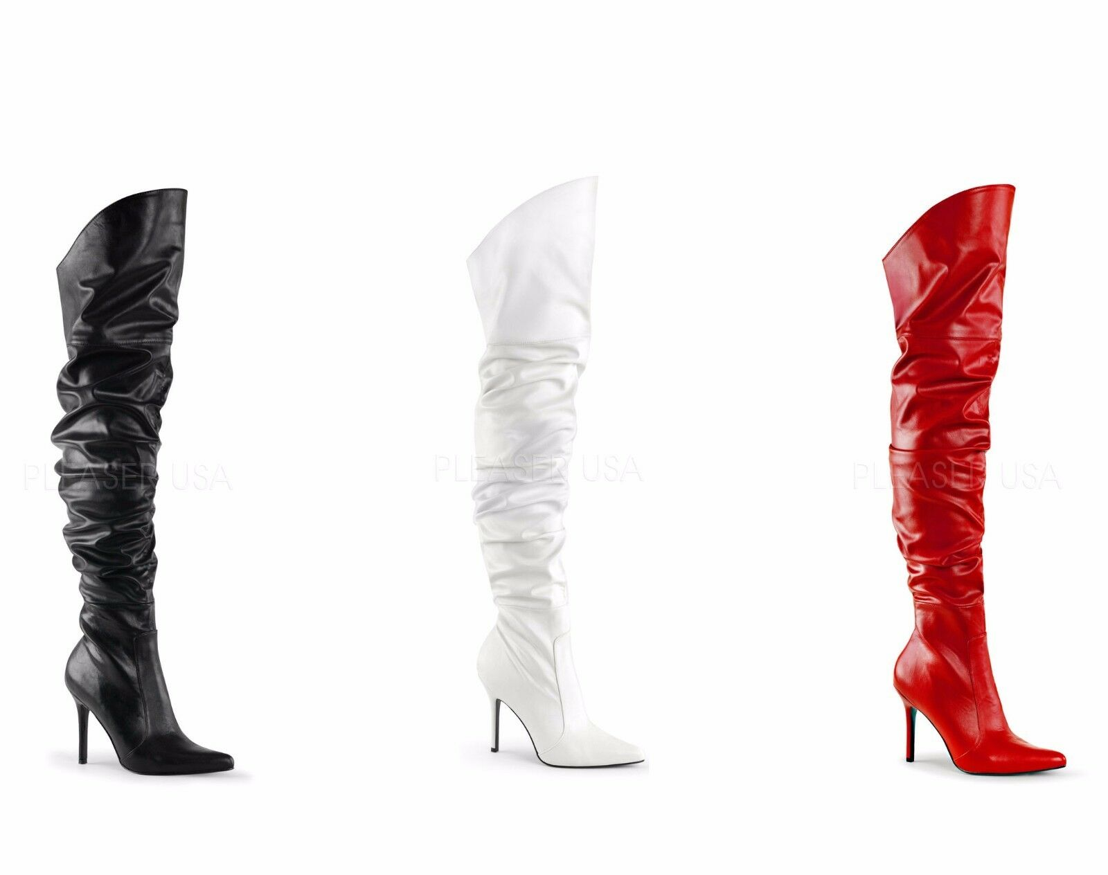 Pleaser CLASSIQUE-3011 Sexy Boot Thigh High Boot Sexy Pointed Toe 3c0097