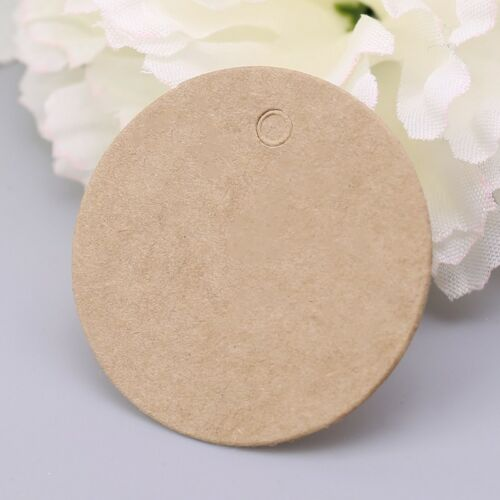 100x Blank Round Kraft Paper Hang Tags Wedding Party Favor Label Price Gift Card