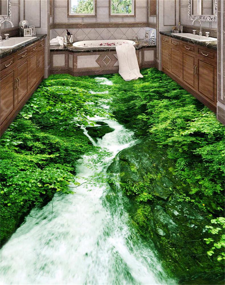 Lange Schlange, Die Sich Am Fluss 3D Fußboden Wandgemälde Foto Bodenbelag Tapete