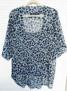 Women-039-s-Plus-Size-22-24-Semi-Sheer-Tunic-by-034-Avenue-034-Shades-of-Blues