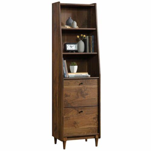 Sauder Harvey Park 3 Shelf Narrow Bookcase in Grand Walnut