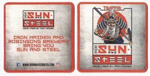 Trooper-Beer-Mat-Sun-amp-Steel-Iron-Maiden-Robinson-039-s-Genuine-Not-Copy