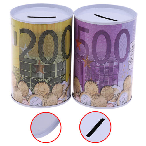1xEuro Dollars Money Box Safe Cylinder Piggy Bank Banks For Coins Deposits BNWUS