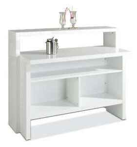 hausbar minibar cocktailbar stehtisch kellerbar theke bar wei hochglanz scully 4036257204119 ebay. Black Bedroom Furniture Sets. Home Design Ideas