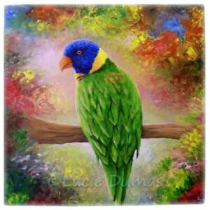 Large-Ceramic-Tile-6x6-Bird-76-Green-Parrot-from-art-painting-by-L-Dumas
