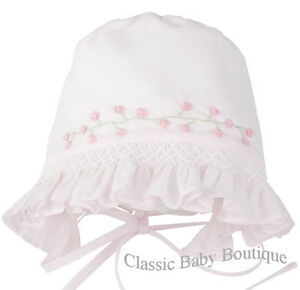 9a07beb3959 Image is loading NWT-Feltman-Brothers-Pink-Smocked-Baby-Bonnet-Newborn-