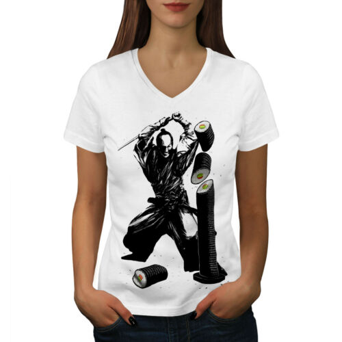 rapide conception graphique Tee Wellcoda Sushi Katana Combat Femme T-Shirt col V