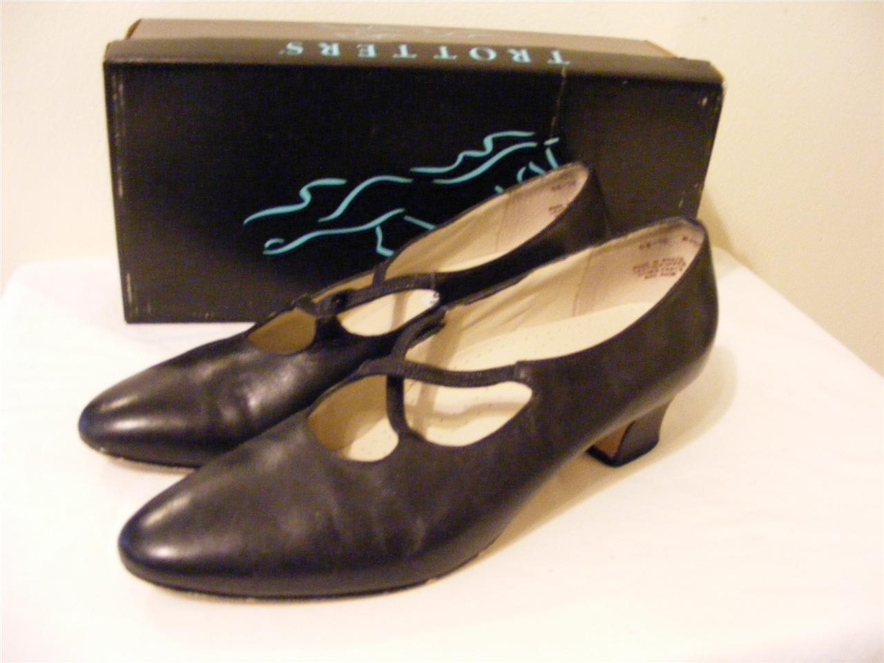 womens TROTTERS shoes MAGGIE BLACK LEATER heels pumps slides dress shoes TROTTERS 10 N CLEAN 9de93d
