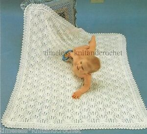 8f101f3658c4 VINTAGE KNITTING PATTERN FOR GORGEOUS BABY   BABY S SHAWL   BLANKET ...