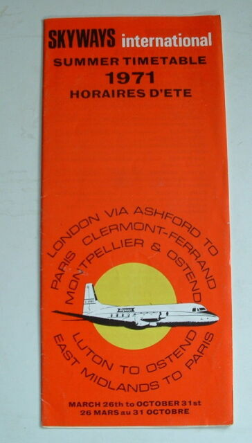1971 SKYWAYS INTERNATIONAL AIRWAYS HS748 TIMETABLE