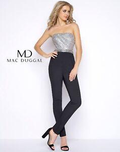 NWT-Mac-Duggal-80635-Black-silver-bustier-pants-jumper-Size-0-PROM-formal