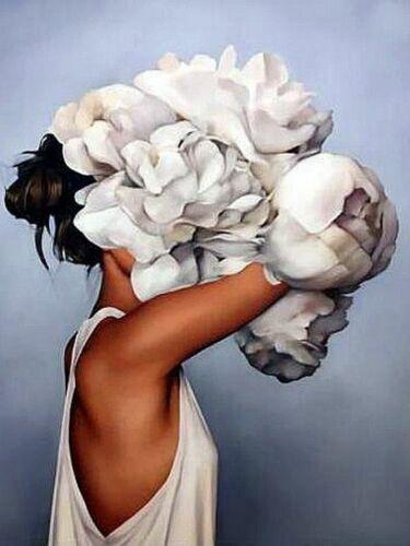 5d Diamante Retrato de diamante flor chica mosaico de diamantes de pintura pelos imágenes