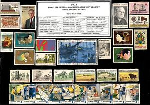 1973-COMPLETE-COMMEMORATIVE-YEAR-SET-OF-MINT-MNH-VINTAGE-U-S-POSTAGE-STAMPS