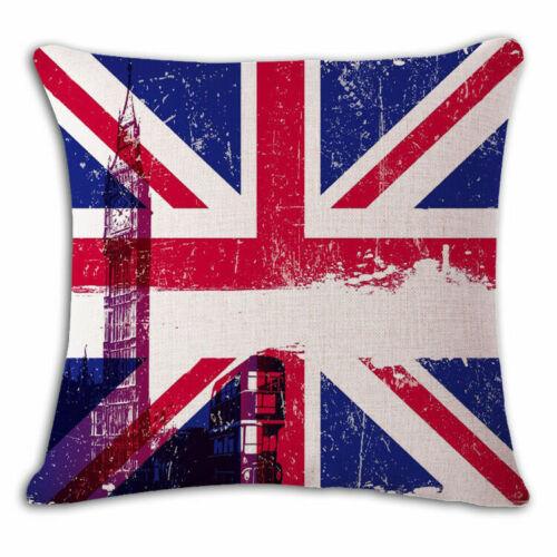 """18/"""" drapeau national en lin Throw Taie d/'oreiller Housse de Coussin Maison Canapé Décor"""