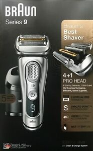 Braun-Series-9-9390cc-Men-039-s-Electric-Shaver-Wet-Dry-Clean-Renew-Charger-SILVER