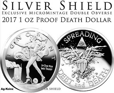 Death of the Dollar Dragon 1 oz 2017 .999 pure SilverShield Minimintage-BU w//COA