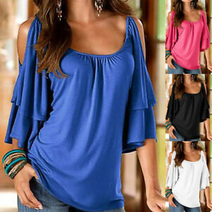 Plus-Size-Women-Blouse-Cold-Shoulder-Lady-Summer-T-Shirt-Loose-Casual-Tops-Tee-L