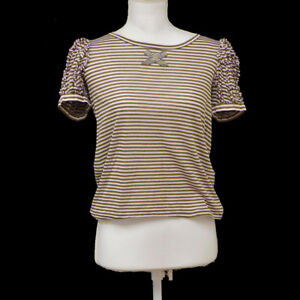 a2f2f43a99e04f Auth CHANEL Vintage CC Pearl Beads Bow Short Sleeve Tops Khaki Pink ...