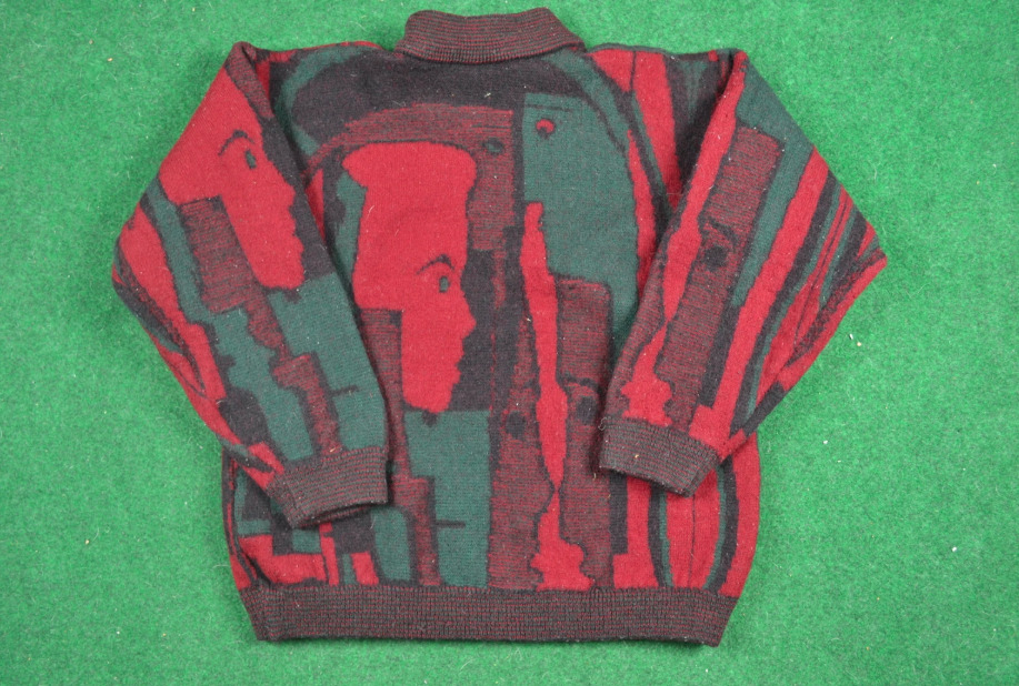 Rare 80s Coogi Faces Wool Sweater Pullover Gucci … - image 5