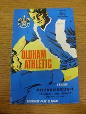 28/08/1965 Oldham Athletic v Peterborough United  (folded, number on front, scor