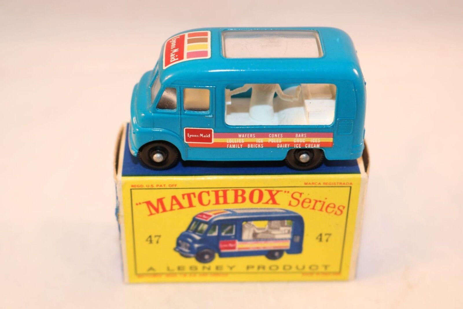 Matchlåda Lesney No 47 Lyons Maid Glass bilen Shop BPW Mint i låda