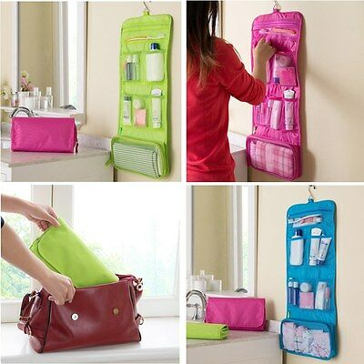 Women Travel Toiletry Hanging Wash Makeup Cosmetic Case Folding Organizer Bags