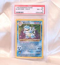 Rare Pokemon Card Red Ink Dot Error Blastoise 2/102 Base Set PSA 8 Mint/NM!